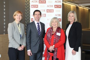 L to R: Acting  Vice-Chancellor at The University of Adelaide, Professor Pasquale Quester; Federal Education Minister, Simon Birmingham; ACDE President, Professor Tania Aspland; and Education Dean, and Professor Faye McCallum, Head of School of Education, The University of Adelaide, Professor Faye McCallum.