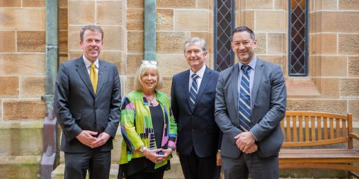 The Hon Dan Tehan MP at the University of Notre Dame Australia with Professor Tania Aspland, President ACDE, The Hon Christopher Ellison, Chancellor  and Peter Tranter, Acting Vice Chancellor for the ACDE Deans' Forum on Thursday, 31 October 2019